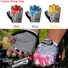 HandCrew Cycling Gloves Half Finger men women WholeSale 4colors Blue Red Pink Yellow S size Free Shipping(China)