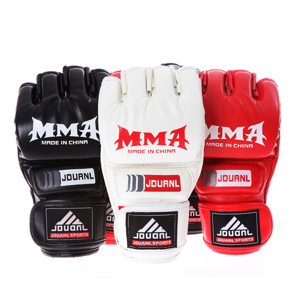 Boxing Gloves MMA Gloves Muay Thai Training Gloves MMA Boxer Fight Boxing Equipment Half Mitts PU Leather Black/Red 5