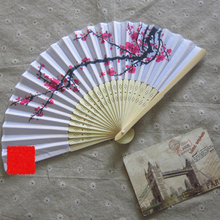 Retro Style Exquisite Japanese Silk Plum flower Folding Hand Fan Wedding Party Prom high end crafts women folding fans