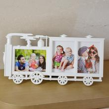 Creative picture frame locomotive 3 photos combination Siamese frame 6 inch photo children frame wall 17E15D5