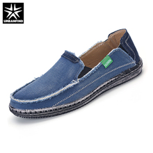URBANFIND Men Jeans Canvas Shoes Plus Size 39-45 Breathable Men Summer Slip On Flats Casual Driving Loafers