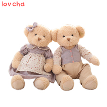 Lovcha 65cm 2pcs/pair lovely big size couple teddy bear with cloth plush toy dolls girls birthday&christmas gift 100% good(China)