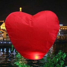 10pcs/lot Heart Shape Hot Air Balloon Paper Wishing Sky Lanterns For Wedding Party Valentine's Day Decoration Red color(China)