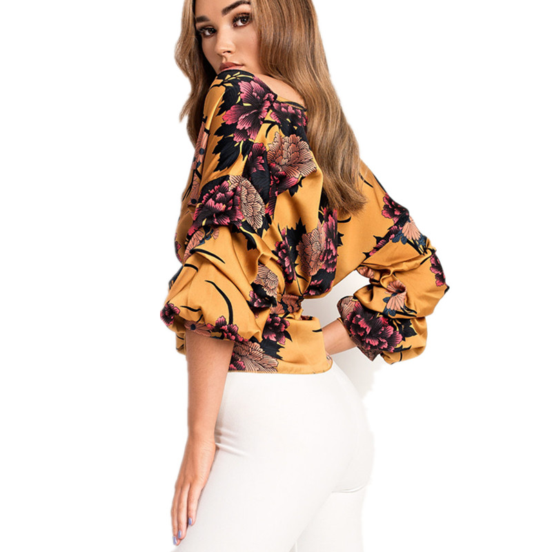 LOSSKY Women V-Neck Sexy Boho Blouse Print Floral Bandages Long Sleeve Blouse Bohemia Ladies Top Shirts Blouses Summer 2018 5