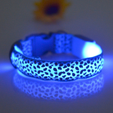 2017 High Qulity Soft Pet Dog Puppy Leopard Print Collar Nylon LED Flashing Safety Neck Collar (Battery Type) - Multicolour