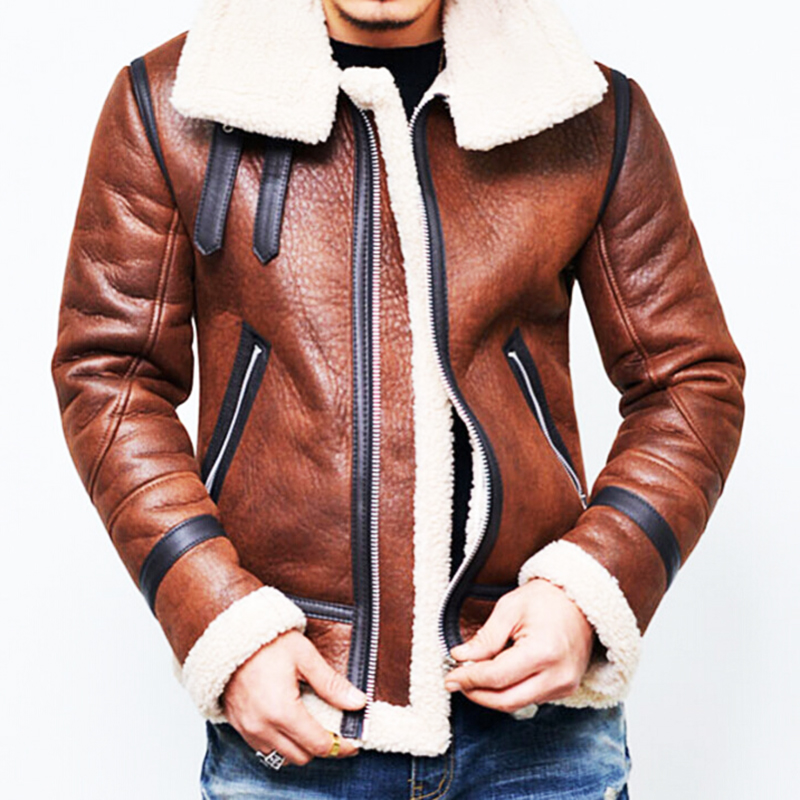 2018 Winter Thick Fleece Leather Jacket Men Wool Lined Leather Coat Hombre Mens PU Leather Jackets North Hight Quality