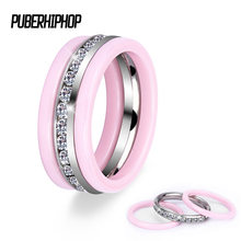 3pcs/Set Hot Stainless Steel Ceramic Rings With Bling Crystal Purple Pink Blue Black White Women Rings Wedding Christmas Gift(China)