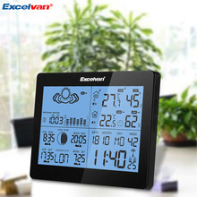 EXCELVAN Wireless Thermometer Hygrometer Weather Station Forecast Temperature Humidity Tester Clock Alarm Indoor Outdoor Clock