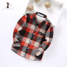 Kung Fu Ant 2017 New Arrival Turn-down Collar Classic Plaid Children Kids Shirts Blouses Plush Inside Fur Warm Thick 201708