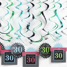 12pc/pack 16th 30th 50th Birthday Hanging Swirl Ceiling Decoration Room Decorating Kit Foil Whirls for Birthday Party