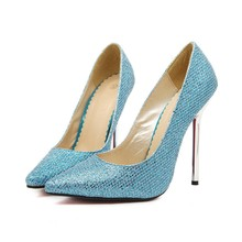 Blue Classic Sequined Women Pumps 2017 New Fashion Crystal Pointed Toe High Heels 13cm Shoes Sexy Wedding Shoes WZ-A0010(China)