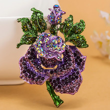 Four color Rose Flower brooch Women Best Wedding Accessories Esmalte Enamel Pin Brooch Colares Violetta Purple Brooch Broches