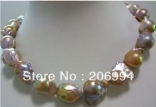 "wholesales design classic huge natural 18x23mm colorful baroque pearl jewellery necklace 18"" fashion jewelry,gift free shipping"