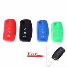 KEYYOU 4 Color Key Cover Silicone 3 Buttons Cover For Ford Fiesta Focus 2 Ecosport Kuga Escape Car Flip Folding Remote Key Case(China)