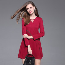 2017 Autumn Outfit New Edition Big Size Women's Long Sleeve Mid Long Coat Winter And Autumn Redand Black Bottoming Shirt 8133502(China)