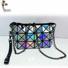 fashion Laser PU women bag Geometric folding women messenger bags casual crossbody bag shoulder clutch female tote handbag