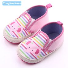 Comfortable Canvas Cute Elephant Newborn Baby Girl Shoes For 0-15 Months