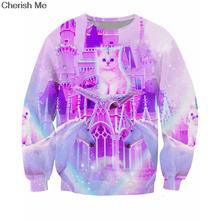 Kitty Land Sweatshirt Women Men Casual Tops Sweats Royalty Cat Unicorns and Magic Carpets Castle Pull Vibrant  Jumper