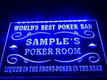 DZ044- Name Personalized Custom World's Best Poker Room Liquor Bar Beer LED Neon Light Sign(China)