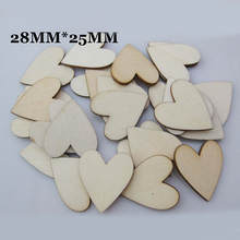 Natural  unfinished DIY wood chips  heart shape wood beadsWood Discs Wooden Tags Labels 90pcs