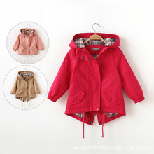 Kids Jackets & Coats Spring Autumn Girls Coat Girls Fashion Outwear Kids Trench Hoodies Jacket Baby Wear Girls Casual Clothing