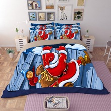Free shipping novelty Christmas gift Santa Claus pattern bedding set Quilt duvet Cover pillow case for twin full queen king
