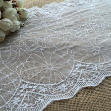 2 Yards White Stretch Embroidery Lace, Bridal Belts, Lingerie Design, Garment Accessory, Wedding Dress Lace Fabric(China)