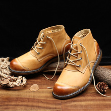 OTTO Fashion Brand Martin Boots Top Quality Handmade Genuine Leather High Top Ankle Tooling Boots Lace-Up Outdoor Shoes