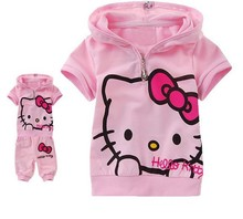 hello kitty set cartoon children's clothing   girl's clothing set   free shipping T-shirt+pants children's clothing set