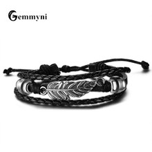 Personalized Bracelet Homme Genuine Leather Bracelet Bangle Men Male Leaf Feather Design Black Multilayer Hand Strap Jewelry(China)