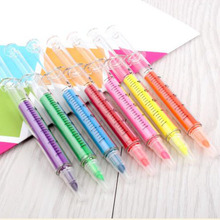 2pcs/lot  Cute Fluorescent Syringe Pens Highlighters Marker Pen Korean Stationery Schllo Supplies Free shipping