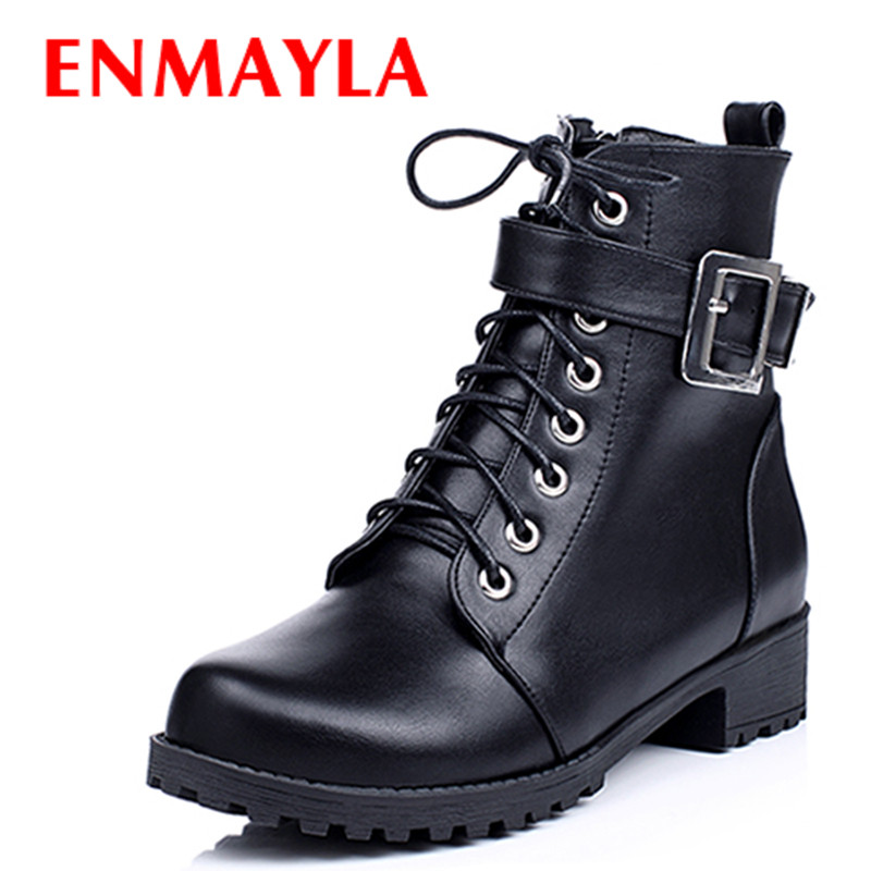 ENMAYLA Lace-up Buckle Punk Shoes Woman Flats Ankle Boots Women Low Heels Black Brown IMotorcycle Boots Womens Winter Shoes<br>