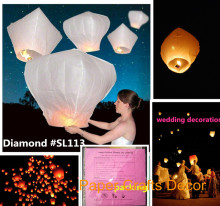 10pcs/lot Diamond Shape Biodegradable Paper Flame Resistant Flying Lamp Sky Lantern Wedding Party Celebration