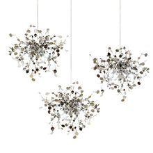 terzani argent lighting hand made stainless steel leaf chandelier lamp for living room/bedroom home deor lighting(China)