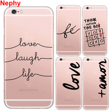 Nephy Case For iPhone 5 6 S SE 5S 6S Plus 6plus 6splus Mobile Phone Cover Cute Letter TPU Silicon Ultrathin Fashion Casing(China)