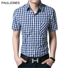 2017 New short sleeve shirt men 100% cotton Casual Brand plaid shirts men's dress shirt man summer short camisa masculino 4XL(China)