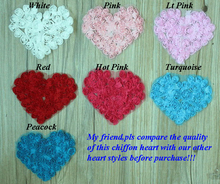 "Free Shipping COSTING PRICE 80pcs 4.5"" Chiffon Rosettes Flower Heart Applique for BB Kids Hair Garment Clothes Accesories"