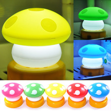 Battery Night Light Led Bedside Small Mushroom Baby Table Lamp Switch Pat Lights -- CLH
