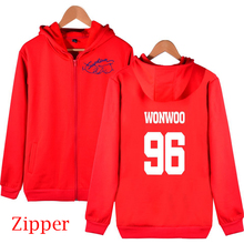 17 Seventeen Concert same member name printing zipper Red jackets kpop Women/men fans supportive fleece hoodie jacket plus size