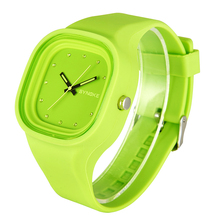 Fashion ladies Square colorful Quartz Watch Automatic women waterproof Silicone sport wristwatch top quality girl luminous clock(China)