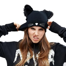 Women Winter Hat Harajuku Woolen Beanie Devil Horns Cat Ear Crochet Braided Knitted Fur Cap Noverlty Gir Snow Hats Bonnet Black(China)