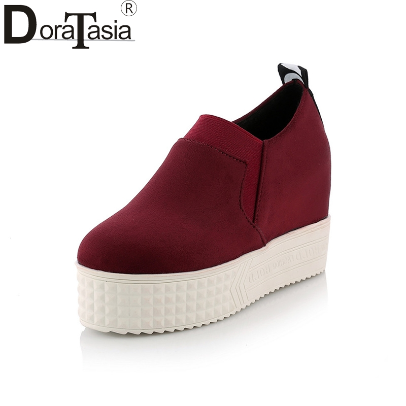 DoraTasia 2018 Spring Autumn Fashion Thick Fretwork Platform Loafers Large Size 31-43 Shoes Woman Slip-On Flat Height Increasing<br>