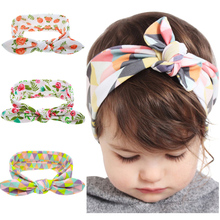 Kids Flower Floral Hairband Turban Rabbit Bowknot Headband Headwear Hair Band Accessories kt-060(China)