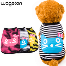 "High Quality WAGETON Summer Pet Dog Shirt ""Striped cat"" Clothes Cute Lovely Vest Shirts Printed T Shirt Clothing For Puppy Cats(China)"