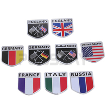 POSSBAY Car Auto Motorcycles ATV Bikes Russia/Italy/US/England/German/France Flag Logo Emblem Grille Badge Decals Sticker