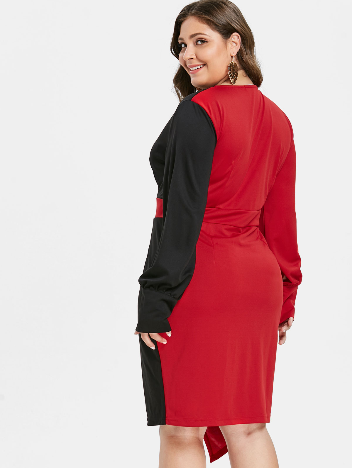 Silhouette Bodycon Dresses Length Knee-Length Neckline Plunging Neck Sleeve  Length Long Sleeves Pattern Type Others With Belt No Season Fall  Weight 0.4940kg 62470e8d53b4