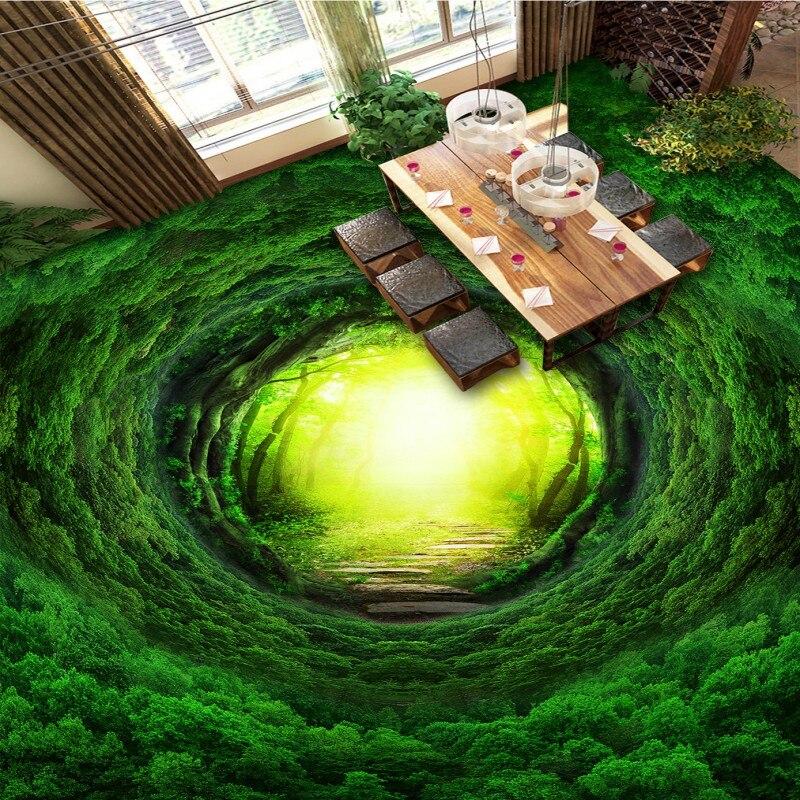 Free Shipping Magic fantasy forest path 3D flooring painting non-slip PVC living room park floor wallpaper<br>