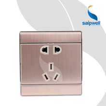 250V 10A New Design Wall Stainless Steel Power Socket ,2 Gang And 3 Gang Socket Panel SP-E60B-14G(China)