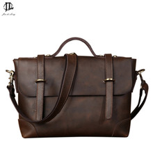 *# New Retro Crazy Horse Genuine Leather Men's Classic Handbag Messenger Shoulder Bag Travel Business Laptop Bag Briefcase