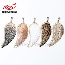 5PCS Natural Shell Angel Wing Shape Pendant, Rhinestone Findings Pave Rhinestone Charm Necklace DIY Jewelry Making Supplies
